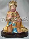 Picture of Hanuman Sitting Ashirwad Oval Wooden Base